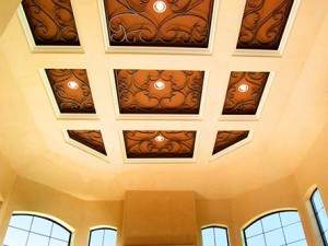 Faux Iron Overlays for Ceiling Coffers in Homes Near Westlake Village & Malibu, California (CA)