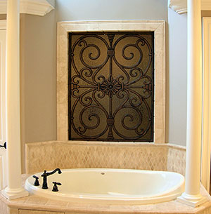 Faux Iron Art Overlays for Bathroom Windows in Homes Near Westlake Village & Malibu, California (CA)