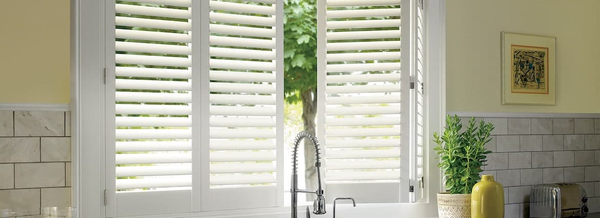Palm Beach PolySatin Shutters in Home Kitchen Windows Near Westlake Village & Thousand Oaks, California (CA)